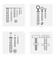 monochrome icon set with dowel nails nuts vector image vector image