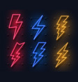 neon lightning bolt glowing electric flash sign vector image