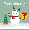 new year and christmas card cute snowman in a rim vector image vector image