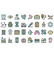 pediatric clinic icons flat vector image vector image