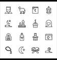 ramadan kareem icons set isolated on white vector image