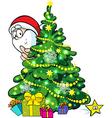 Santa Claus hidden behind a shining christmas tree vector image vector image