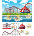 scene background design with kids at carnival vector image