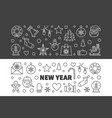 set new year modern outline horizontal vector image