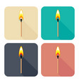 set of square icons with burning match isolated vector image vector image