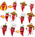 set red chili peppers cartoon vector image vector image