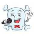 singing skull character cartoon style vector image
