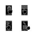 smartphone touchscreen glyph icons set vector image vector image