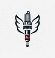 spark plug with wings vintage hand drawn vector image