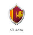 sri lanka flag on metal shiny shield vector image