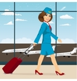 stewardess with luggage walking vector image vector image