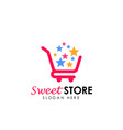 sweet store logo design shopping cart icon design vector image