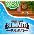 swimming pool umbrella with summer background vector image vector image