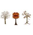 Three autumn trees vector image vector image