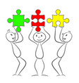 three stick men with rectangle puzzle pieces eps vector image