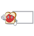thumbs up with board bread with jam character vector image