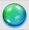 transparent blue and green sphere with shadow vector image vector image