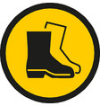 warning sign wear safety shoes symbol sign vector image vector image