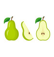 whole green pear half pear and slice vector image vector image
