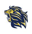 wild lion head mascot roaring logo vector image vector image