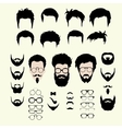 set of hipster style haircut glasses vector image