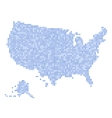 Blue Dotted USA Map on White Background vector image