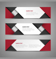 abstract horizontal banners with black red vector image vector image
