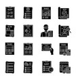 audit glyph icons set vector image