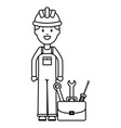builder worker with helmet and toolbox vector image vector image