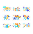 business elements set office tools management vector image