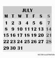 calendar design month july 2019 vector image vector image