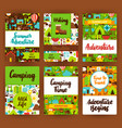 camping invitation template set vector image vector image