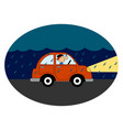 car with lights on on white background vector image vector image