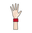 cartoon one hand palm shows five fingers vector image vector image