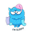 cartoon sleepy monster with pillow sticker vector image