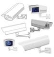 cctv security camera set surveillance devices vector image