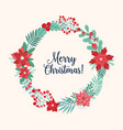 christmas greeting inside holiday wreath or vector image vector image