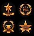 collection gold trophies star cup laurel awards vector image