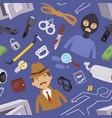 criminal thief cartoon detective character design vector image vector image