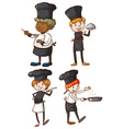 Four excellent chefs vector image vector image
