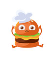 funny burger with big eyes sitting wearing in a vector image vector image