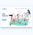 girl soccer website landing page design vector image