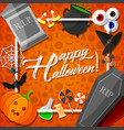 halloween frame with orange background vector image