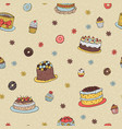 hand-drawn dessert seamless pattern vector image vector image