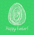 happy easter egg sketch on green background vector image vector image
