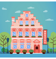 Hotel Building Facade Vintage European City Hostel vector image