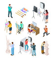 isometric artist art studio artistic photo vector image vector image