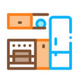 kitchen with fridge icon outline vector image vector image