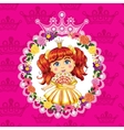 Little princess red hair on a pink background vector image