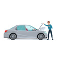 Man having Car Trouble Car breaks down vehicle vector image vector image
